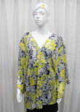 Lady Fashion Paisley Printed Polyester Chiffon Spring Silk Shirt (YKY2216)