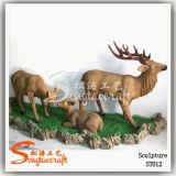 Park Decorative Fiberglass Artificial Sculpture Deer Statues