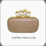 Hard Cased Knuckle Skull Crystal Cluster Evening Bags (C798)