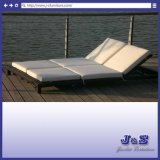 2 Seating Outdoor Rattan Chaise Lounge Chair Set, Garden Patio Wicker Furniture (J4195)