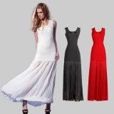 Ladies Bandage Long Dress with Sleeveless V-Neck Collar Dress
