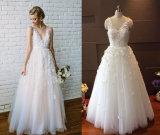 V Neck Tulle Beach Flower Wedding Gown