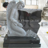 Black Granite Butterfly Design Angel Tombstone