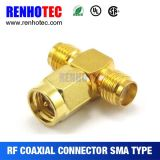 T Type SMA Male to Two Female Adapter SMA Connectors