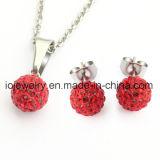 Original Czech Crystal Ball Earring Pendant Necklace Jewelry Set