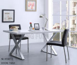 Chinese Modern Square Men-Made Marble Stainless Dining Table Wholesale (NK-DT287-1)