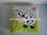 Plush Soft Cushion with Cow Embroidery