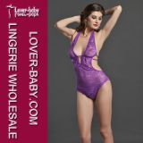 Floral Lace Purple Woman Costume Lingerie Teddy (L8039-4)