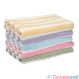 Soft Weft Knitted Microfiber Striped Bath Towel