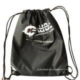 2017 Cheap Fashion Custom Black 210d Nylon Drawstring Bag