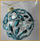 Cheap Christmas Glass Ball with Blue Flower