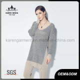 Women Ribbed V Neck Long Sleeve Side Slit Tunic Knitwear