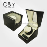 Luxury Black Single Wooden Watch Winder with Marble Stone