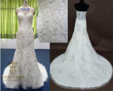 Trumpet Sweetheart Chapel Train Lace Wedding Dress with Beading