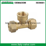 Brass Forged Compression Pex Pipe Fitting Tee (AV9055)