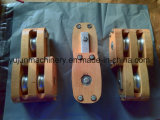 Double Sheave or Triple Sheave Wooden Snatch Block for Hemp Rope