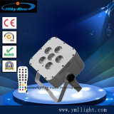 Wedding Party Stage Club Bar 6PCS RGBWA UV 6in1 LED Battery Uplighting Remote Control Wireless Battery LED Flat PAR Light