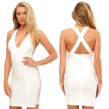 Bodycon Strapless Bandage Dress with Grid Bandage Dress