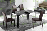 (ST-090) Home Furniture Black Rectangle Tempered Glass Dining Table