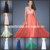 Multi Colors Chiffon Evening Dresses V-Neck Lace Femmeal Lace Lace Appliques Bodice Wedding Bridesmaid Maid of Honour Formal Gowns L19882