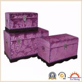 Bedroom Furniture Floral Fabric Handmade Wooden Storage Chest 3-PC Trunk