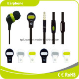 High Sensitivity Promotional Black Green MP3 Earphone with Micphone