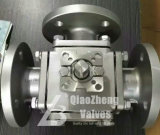 High Pad Mounted ANSI/JIS/DIN CS/Ss Cast Steel Stainless Steel L-Port T-Port Flanged 3-Way Three-Way Ball Valve