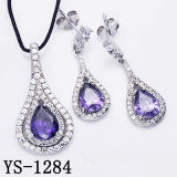 Sterling Silver Amethyst Zircon Jewelry Set Dangle Earrings