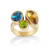 New Fashion Jewelry Gold Plated Rings for Women Vintage Double Czech Stone Female Finger Ring