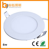 Ce/RoHS 6W Super Slim No Flickering Flush Mounted Round LED Panel Light