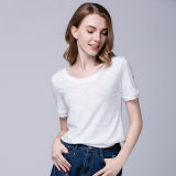 Women′s Plain Cotton T-Shirt Short Sleeves, OEM Factory Wholesale