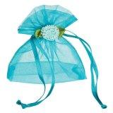 Custom Blue Gift Packaging Organza Drawstring Pouch for Wedding (COB-1152)