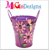 Purple Printing with Flowers Round Fashion Metal Flower Planter
