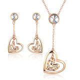 Fashion Lady Night Party Heart Shaped Crystal Jewelry Set