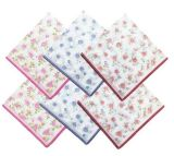 White 6 PCS Pretty Girl Rose Pack Print Ladies Wholesale Silk Handkerchief Boxes