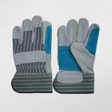 Cow Split Leather Double Palm Stripe Cotton Back Work Glove