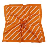 Orange Striped Silk and Polyester Printed Scarf Satin Twill Uniform School Formal Square Scarf (LS-43)