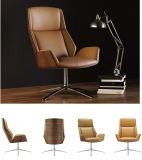 Bended Wood Upholstery Office Chair with Leather and Aluminum Base