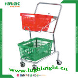 Grocery Store Double Basket Shopping Trolley (HBE-J-1)