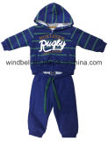 Yarn Dye Striped Fleece Suit for Baby Boy with Foil Print