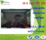 "10.1"" IPS 1280X800 Lvds 40pin 350CD/M2 Customized Thin TFT Display LCD"