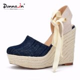 Lady Demin High Heels Lace-up Women Rope Wedge Sandals Shoes