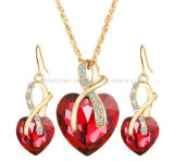Love Heart Shape Indian Bridal Cubic Zirconia Jewelry Necklace Dubai Gold Rani Haar Jewelry Sets