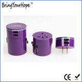 Purple Dual USB Port Travel Plug with LED Logo (XH-UC-010)