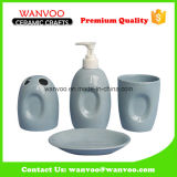 Cute Grey Soap Dispenser Toothbrush Holder Bathroom Set