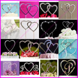 Sparking Silver Love Heart Crystal Rhinestone Cake Topper for Wedding and Party Decoration