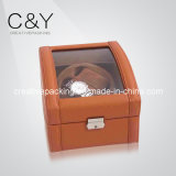 (2+3) Slots Luxury Brown PU Leather Watch Winder