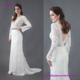 Vintage Lace Wedding Gown with Long Sleeves and a Sheer Lace Bodice, Pictured with a Separate Beaded Belt