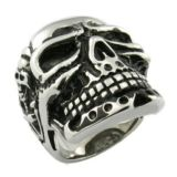 Mens Stainless Steel Large Skull Ring