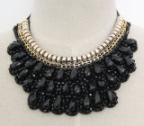 Handmade Bead Crystal Fashion Costume Alloy Pendant Necklace Jewelry (JE0001)